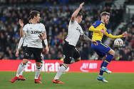 Southampton midfielder Callum Slattery wins the ball from Derby County forward Jack Marriott during the The FA Cup 3rd round match between Derby County and Southampton at the Pride Park, Derby, England on 5 January 2019.