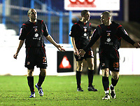 Photo: Paul Greenwood/Sportsbeat Images.<br />Carlisle United v Swindon Town. Coca Cola League 1. 04/12/2007.<br />Swindon's Jack Smith, (L) and Jon Paul McGovern argue after Carlisle score their Second goal.