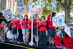 © Licensed to London News Pictures. 20/09/2019. London, UK. School children take part in the Global Climate Strike demonstration near Parliament. Thousands of similar actions are taking place all over the UK and the rest of the world. Photo credit: Peter Macdiarmid/LNP