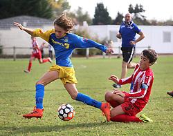 13 Octobre 2018. Hesdin, Pas de Calais, France.<br /> US Montreuil U13-1 v Olympique Hesdin Marconne U13-1.<br /> Montreuil 2 - OHM 2. <br /> Photo©; Charlie Varley/varleypix.com