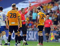 Football - 2018 / 2019 EFL Sky Bet League Two Play-Off Final - Newport County vs. Tranmere Rovers<br /> <br /> Mark O'Brien of Newport receives the red card from referee, Ross Joyce, at Wembley Stadium.<br /> <br /> COLORSPORT/ANDREW COWIE