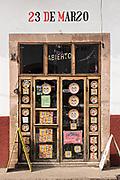 A shop decorated with crafts in Santa Clara del Cobre, Michoacan, Mexico.
