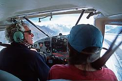 Pilot Andy Williams flying in the St. Elias Range, Kluane National Park, Yukon