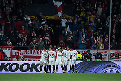 December 13, 2018 - Seville, Andalucia, Spain - Sevilla FC players celebrate the first goal of Sevilla FC in the Europa League match between Sevilla FC and Krasnodar in Ramón Sánchez Pizjuán Stadium (Seville) (Credit Image: © Javier MontañO/Pacific Press via ZUMA Wire)