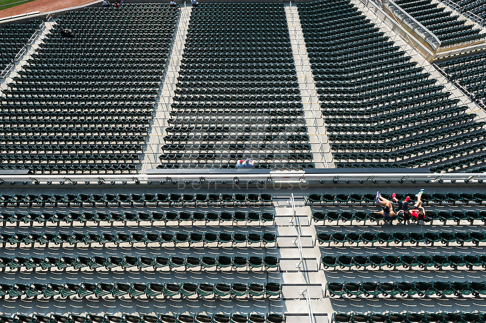 Some fans wait in their seats early before a game between the Minnesota Twins and Chicago White Sox on September 16, 2012 at Target Field in Minneapolis, Minnesota.  The White Sox defeated the Twins 9 to 2.  Photo: Ben Krause
