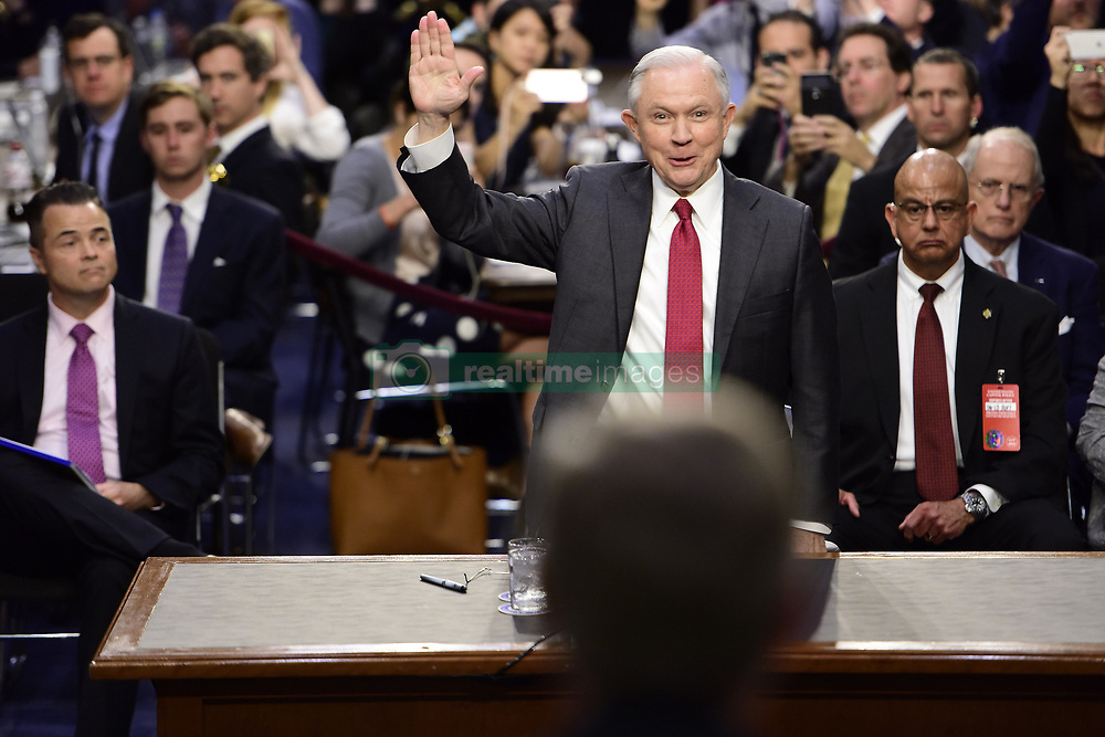 June 13, 2017 - Washington, District of Columbia, United States of America - United States Attorney General Jeff Sessions is sworn-in to give testimony before the US Senate Select Committee on Intelligence to  ''examine certain intelligence matters relating to the 2016 United States election'' on Capitol Hill in Washington, DC on Tuesday, June 13, 2017.  In his prepared statement Attorney General Sessions said it was an ''appalling and detestable lie'' to accuse him of colluding with the Russians..Credit: Melina Mara / Pool via CNP (Credit Image: © Melina Mara/CNP via ZUMA Wire)