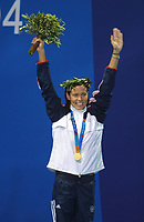 Natalie Coughlin (USA) winner of the 100m Backstroke Gold Medal. Swimming, Athens Olympics, 16/08/2004. Credit: Colorsport / Andrew Cowie DIGITAL FILE ONLY