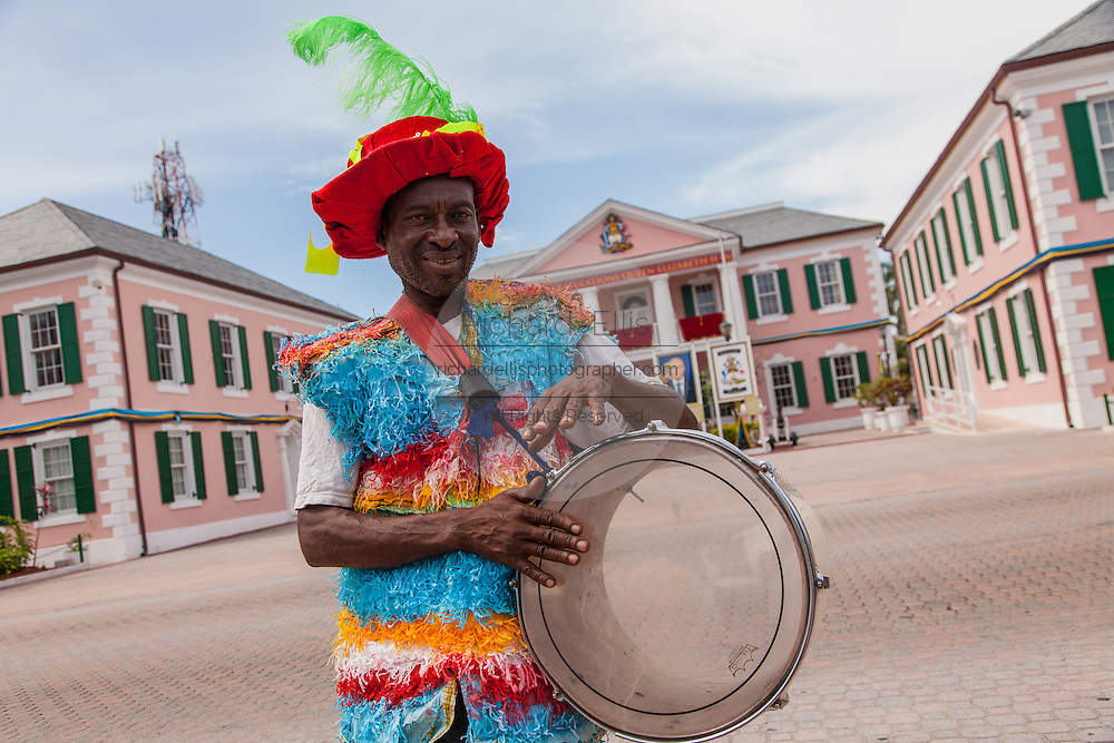 A performer in a Junkanoo costume performs in Parliament Square Nassau, Bahamas.