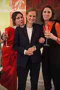 VALERIA NAPOLEONE; ORIOLE CULLEN; STEFANIA PRAMMA; , Stefania Pramma launched her handbag brand PRAMMA  at the Kensington residence of her twin sister, art collector Valeria Napoleone.. London.  29 April 2015
