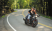 """Motorcycle riding Highway 129 """"Tail of the Dragon"""" on the border of North Carolina and Tennesse.  No model release."""