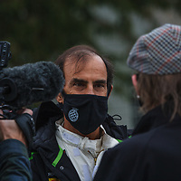 St Mary's Trophy, Saturday 15h05<br /> #5 - 1965 Alfa Romeo GTA – driver Emanuele Pirro talks to the press at Goodwood SpeedWeek 16 - 18 October 2020