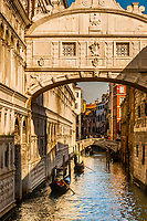 Gondolas along the canal from the Bridge of Sighs, Venice, Italy.