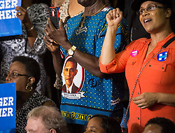 October 28, 2016 - Florida, U.S. - LOREN ELLIOTT   |   Times .Supporters listen to President Obama speak at a Hillary Clinton campaign rally at the University of Central Florida in Orlando on Friday, Oct. 28, 2016. He encouraged voters to cast their ballots early. (Credit Image: © Loren Elliott/Tampa Bay Times via ZUMA Wire)