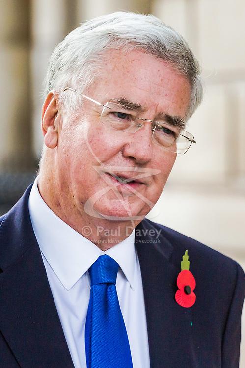 London, November 01 2017. Defence Secretary Sir Michael Fallon is seen walking on Whitehall. © Paul Davey