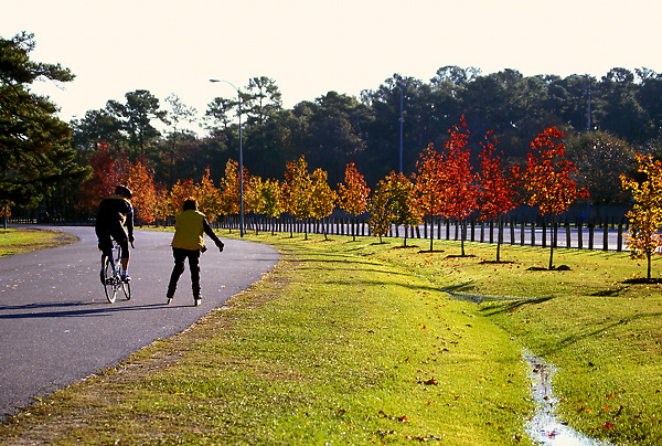 Stock photo of a cyclist and skater on a pathway in the park in Houston Texas