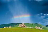 Mongolie, Arkhangai, paysage de la steppel // Mongolia, Arkhangai province, landscape in the steppe