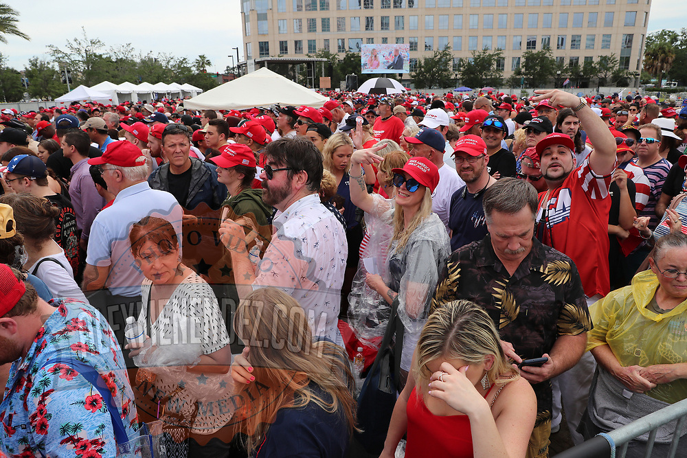 Supporters are seen during the visit of USA President Donald Trump and his announcement that he is campaigning for the 2020 election at the Amway Center in Orlando Florida USA 18 June 2019