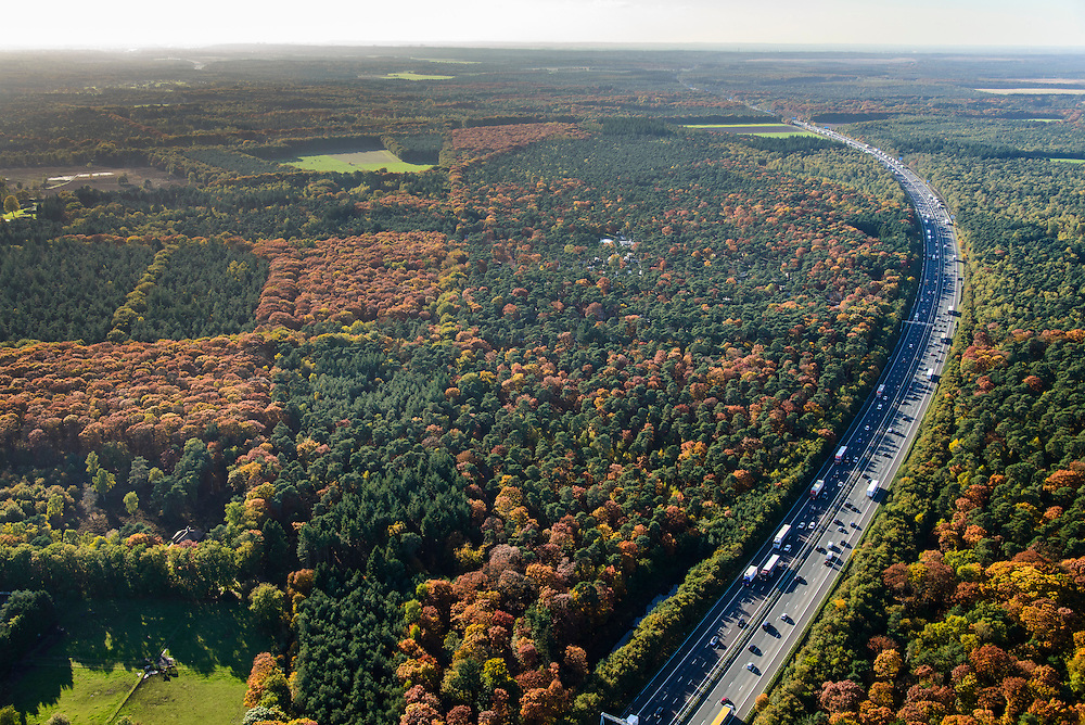 Nederland, Gelderland, Ede, 24-10-2013. Avondspits begint in de namiddag op autosnelweg A12 tussen Ede en Arnhem en doorkruist de bossen in herfstkleuren van de Veluwe.<br /> Traffic in autumn in central Netherlands, on motorway A12 between woods.<br /> luchtfoto (toeslag op standaard tarieven);<br /> aerial photo (additional fee required);<br /> copyright foto/photo Siebe Swart.