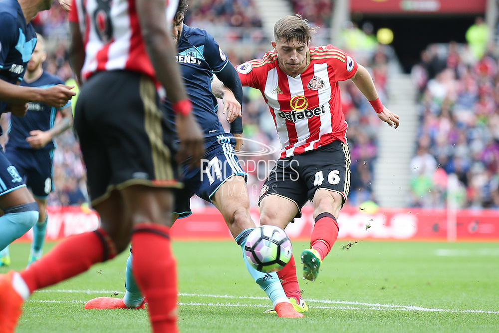 Sunderland forward Lynden Gooch (46)  with a shot during the Premier League match between Sunderland and Middlesbrough at the Stadium Of Light, Sunderland, England on 21 August 2016. Photo by Simon Davies.