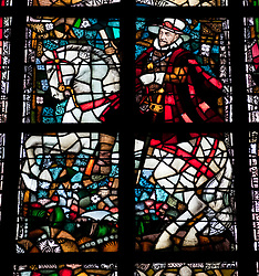 William of Orange in stained glass windows in Nieuwe Kerk or New church in Delft The Netherlands