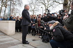© Licensed to London News Pictures. 23/03/2017. London, UK. Deputy Commissioner of the Metropolitan Police Craig Mackey speaks to the press after observing a minutes silence for PC Keith Palmer and the other victims of the Westminster terrorist attack. Photo credit: Rob Pinney/LNP