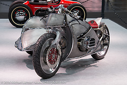 Vincenzo Ciancio's Inglourious Basterds (Italy) built PanUral 900 cc Ural bottom end - Harley-Davidson top end custom with sidecar in the AMD World Championship of Custom Bike Building in the custom themed Hall 10 at the Intermot Motorcycle Trade Fair. Cologne, Germany. Tuesday October 4, 2016. Photography ©2016 Michael Lichter.