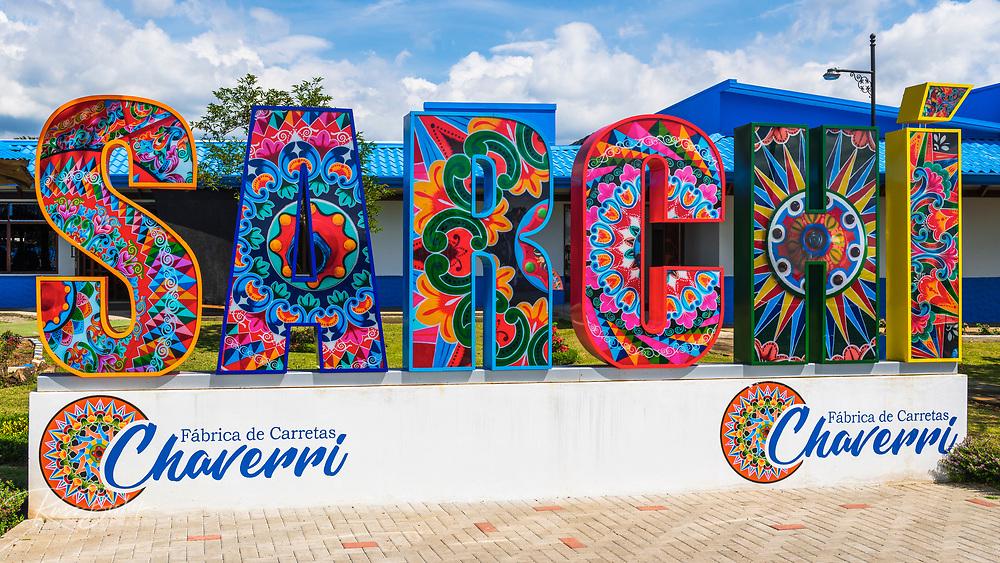 Colorful town sign, Sarchi, Alajuela Province, Costa Rica