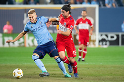 September 26, 2018 - Bronx, New York, US - New York City FC defender ANTON TINNERHOLM (3) fights for the ball against Chicago Fire midfielder DREW CONNER (18) during a regular season match at Yankee Stadium in Bronx, New York.  New York City FC defeats Chicago Fire 2 to 0 (Credit Image: © Mark Smith/ZUMA Wire)