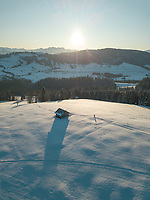 Aerial View of Winter Sport in Schwyz, Switzerland