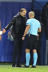November 28, 2018 - Paris, France - Thomas Tuchel ( Entraineur Coach PSG ) avec Szymon Marciniak (arbitre principal) altercation (Credit Image: © Panoramic via ZUMA Press)