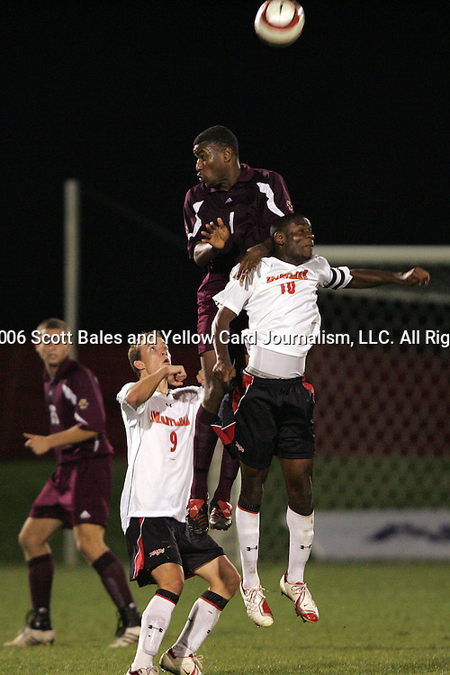1 November 2006: Boston College's Sherron Manswell (center) wins a header over Maryland's Maurice Edu (10) and Jason Herrick (9). Maryland defeated Boston College 1-0 in double overtime at the Maryland Soccerplex in Germantown, Maryland in an Atlantic Coast Conference college soccer tournament quarterfinal game.