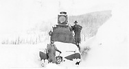 """RGS engine crew posed on front of #25 after bucking snow.<br /> RGS  Lizard Head (near), CO  ca. ? 1910-1920<br /> In book """"RGS Story, The Vol. X: Over the Bridges? Ridgway to Durango"""" page 306<br /> Thanks to Don Bergman for additional information."""