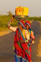Woman on road near Rohet, Rajasthan, India