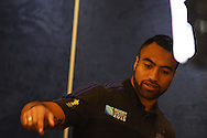 Victor Vito of New Zealand  talks to the media.Rugby World Cup 2015 , New Zealand Allblacks player media session at the Hilton Hotel in Cardiff , South Wales on Monday 28th September 2015. The Allblacks are in Cardiff preparing for their next pool match against Georgia on Friday night.<br /> pic by  Andrew Orchard, Andrew Orchard sports photography.
