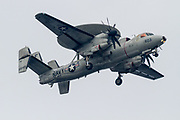 "A Northrop Grumman E2 Hawkeye, early warning aircraft with Carrier Airborne Early Warning Squadron 115 (VAW-115), also known as the ""Liberty Bells"" flies over  Kanagawa, Japan. Tuesday December 13th 2016."