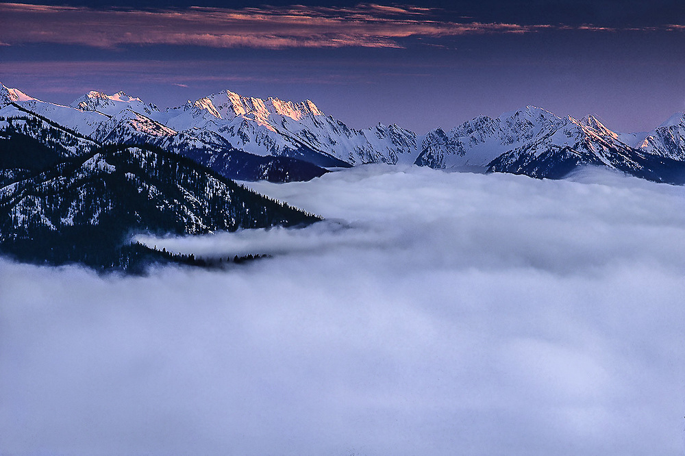 Mount Anderson and Olympic Mountains, valley fog, telephoto view from Hurricane Ridge, Olympic National Park, Washington, USA