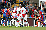 GOAL - James Tomkins of Crystal Palace (2nd left)  heads the ball and scores sides 1st goal to make it 1-0. Premier League match, Crystal Palace v Stoke city at Selhurst Park in London on Sunday 18th Sept 2016. pic by John Patrick Fletcher, Andrew Orchard sports photography.