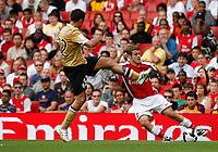 Photo: Richard Lane/Richard Lane Photography. Arsenal v Juventus. Emirates Cup. 02/08/2008. Arsenal's Jack Wilshere is challenged by Juventus' Mohamed Sissoko.
