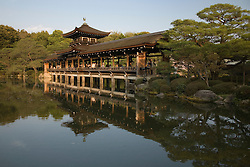 Asia, Japan, Honshu island, Kyoto, strolling gardens and lake at Heian Jingu Shrine, imperial Shinto shrine built in 1895