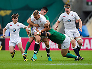 England fly-half Harry Mallinder drives through the Ireland defence during the World Rugby U20 Championship Final   match England U20 -V- Ireland U20 at The AJ Bell Stadium, Salford, Greater Manchester, England onSaturday, June 25, 2016. (Steve Flynn/Image of Sport)