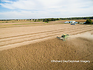 63801-09415 Soybean Harvest, John Deere combine harvesting soybeans - aerial - Marion Co. IL