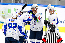 Players of Slovenia celebrate after scoring a goal during match at Beat Covid 19 IIH Tournament 2021 between national teams of Romania and Slovenia in Hala Tivoli on 18th of May, 2021, Ljubljana, Slovenia . Photo By Morgan Kristan / Sportida