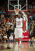 Nov 16, 2011; Fayetteville, AR, USA;  Arkansas Razorbacks forward Marshawn Powell (33) walks down the court during a game against the Oakland Grizzlies at Bud Walton Arena. Arkansas defeated Oakland 91-68. Mandatory Credit: Beth Hall-US PRESSWIRE