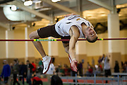 Brandon Eddy of Baldwin-Wallace College clears the bar during the High Jump competition  on Friday of the NCAA Division III Indoor Track and Field National Championships at Grinnell College.