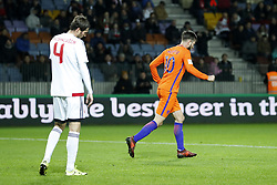 (L-R) Aleksei Yanushkevich of Belarus, Davy Propper of Holland during the FIFA World Cup 2018 qualifying match between Belarus and Netherlands on October 07, 2017 at Borisov Arena in Borisov,  Belarus
