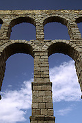 Detail on the Roman aqueduct in Segovia, Spain June 1998