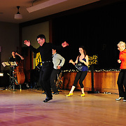 "Josh Hilberman, Brenda Bufalino,  Demi Remick, Ayan Imai-Hall, and The Paul Arslanian Trio perform in the show ""Ring in the Rhythm! A Jazz & Tap Holiday"" at The Dance Hall in Kittery, ME"