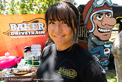 Michelle Baker of Baker Drivetrain at the Born-Free Vintage Motorcycle show at Oak Canyon Ranch, Silverado, CA, USA. Sunday, June 23, 2019. Photography ©2019 Michael Lichter.