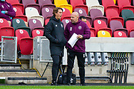 Brentford manager Thomas Franks and Brentford Assistant Head Coach Brian Riemer during the EFL Sky Bet Championship match between Brentford and Preston North End at Brentford Community Stadium, Brentford, England on 4 October 2020.