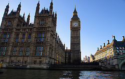 © Licensed to London News Pictures. 29/12/2016. London, UK. General view showing the Houses of Parliament building in Westminster, London next to Westminster Bridge, taken from the River Thames. Photo credit: Ben Cawthra/LNP